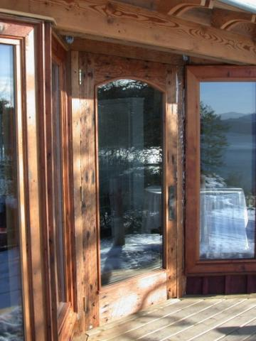 Exterior Glass Wood Entrance of West Coast Home on Pender Island built by Dave Dandeneau of Gulf Islands Artisan Homes