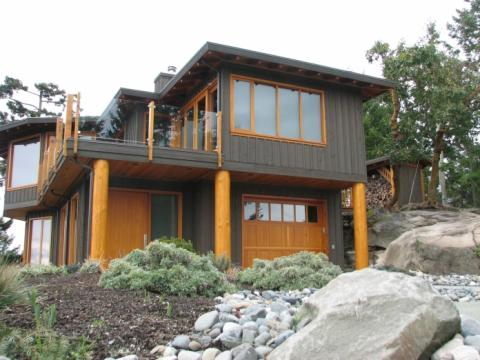 Exterior Landscaping of West Coast Home on Pender Island built by Dave Dandeneau of Gulf Islands Artisan Homes