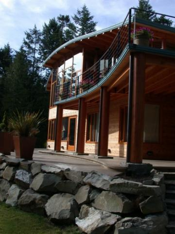 Exterior of West Coast Home on Pender Island built by Dave Dandeneau of Gulf Islands Artisan Homes