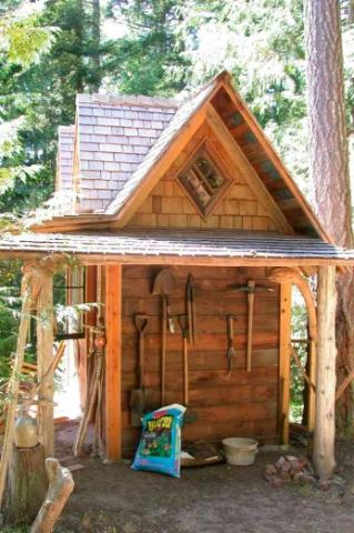 Back Storage of of potting shed on Pender Island built by Dave Dandeneau of Gulf Islands Artisan Homes