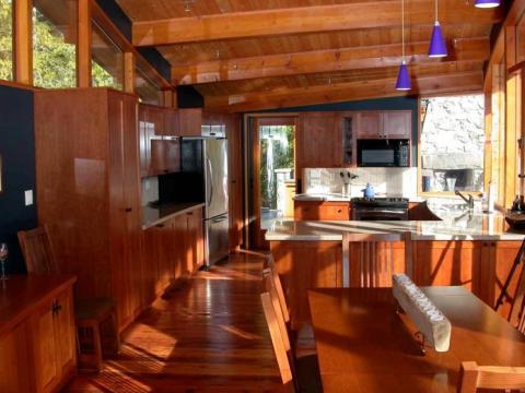 Interior Design Open Plan Living Room in West Coast building on Pender Island built by Dave Dandeneau of Gulf Islands Artisan Homes