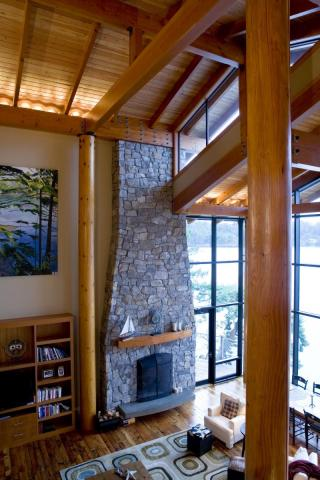 Stone Masonry Work Fireplace on Irene Bay Road by Dave Dandeneau of Gulf Islands Artisan Homes