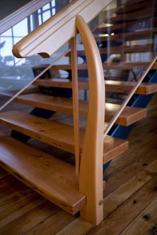 Wooden Staircase West Coast Luxury Home on Pender Island built by Dave Dandeneau of Gulf Islands Artisan Homes