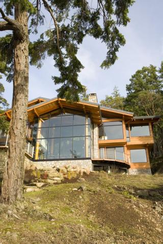 Outer Glass Facade West Coast Luxury Home on Pender Island built by Dave Dandeneau of Gulf Islands Artisan Homes