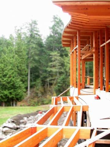 Deck in Construction of West Coast Home on Pender Island built by Dave Dandeneau of Gulf Islands Artisan Homes