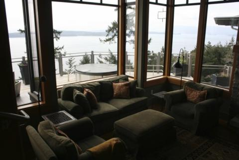 Sitting Room of West Coast Home on Pender Island built by Dave Dandeneau of Gulf Islands Artisan Homes