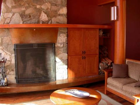 Fire place of West Coast Home on Pender Island built by Dave Dandeneau of Gulf Islands Artisan Homes