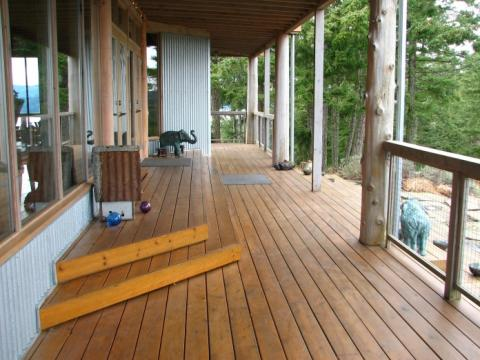 West Coast Home with extensive wooden decks on Pender Island built by Dave Dandeneau of Gulf Islands Artisan Homes