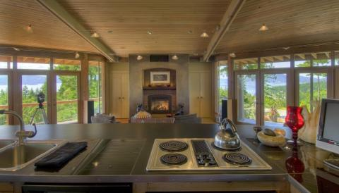 West Coast Home interior kitchen open plan on Pender Island built by Dave Dandeneau of Gulf Islands Artisan Homes