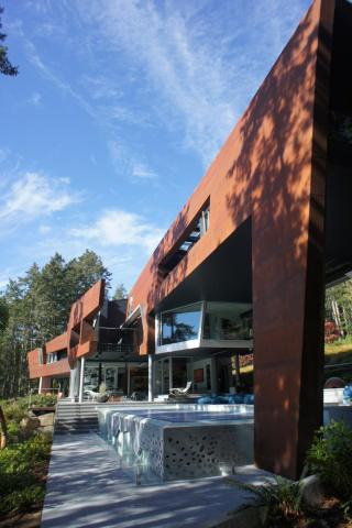 ultra modern West Coast fusion building with pool on Pender Island built by Dave Dandeneau of Gulf Islands Artisan Homes