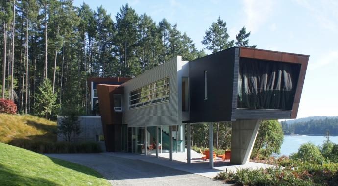 Ultra Modern West Coast Fusion home on Razor Point Road Pender Island built by Dave Dandenau of Gulf Islands Artisan Homes