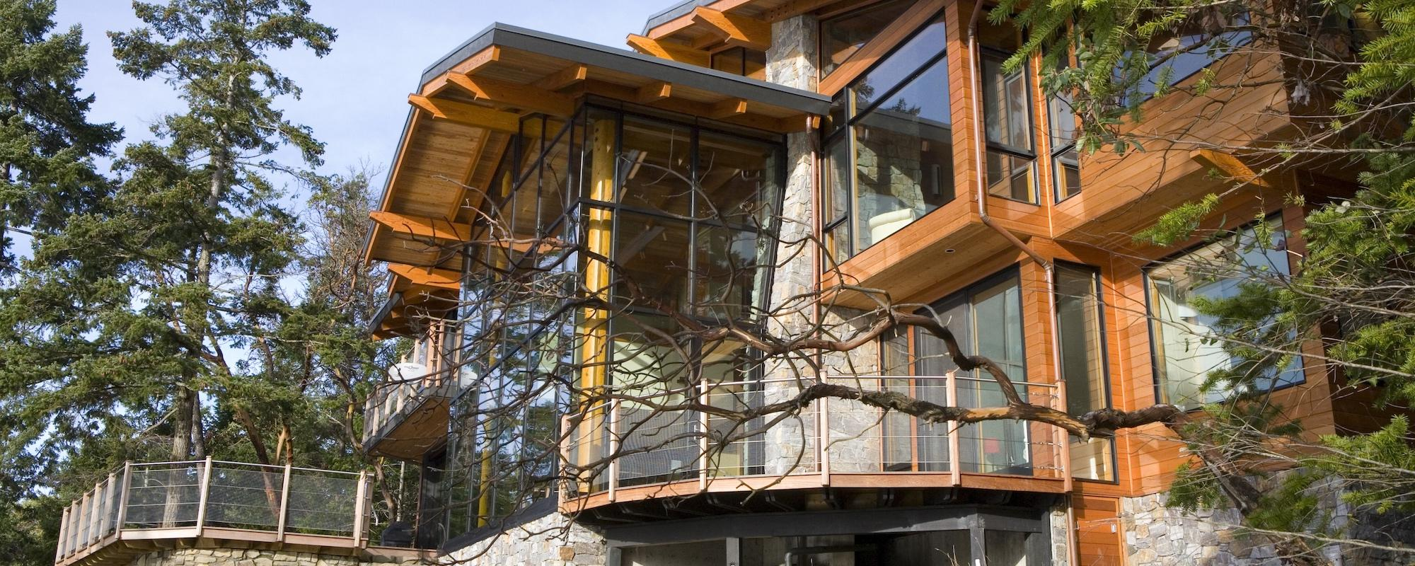 west coast style home on Irene Bay Road Pender Island built by Dave Dandenau of Gulf Islands Artisan Homes
